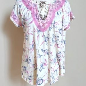 Lucky Brand Knit Feather Printed Peasant Top XL